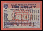 1991 Topps #424   Calvin Schiraldi Back Thumbnail