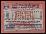 1991 Topps #187  Greg Cadaret  Back Thumbnail