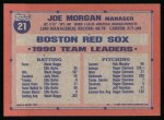 1991 Topps #21  Joe Morgan  Back Thumbnail