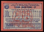 1991 Topps #37  Tom Bolton  Back Thumbnail