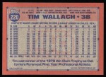 1991 Topps #220   Tim Wallach Back Thumbnail