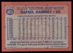 1991 Topps #423  Rafael Ramirez  Back Thumbnail