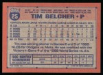 1991 Topps #25  Tim Belcher  Back Thumbnail