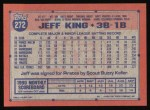 1991 Topps #272   Jeff King Back Thumbnail