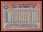 1991 Topps #100   Don Mattingly Back Thumbnail