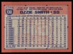 1991 Topps #130  Ozzie Smith  Back Thumbnail
