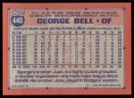 1991 Topps #440   George Bell Back Thumbnail