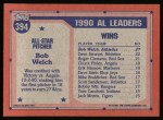 1991 Topps #394  All-Star  -  Bob Welch Back Thumbnail