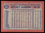 1991 Topps #55   Jeffrey Leonard Back Thumbnail