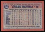 1991 Topps #156   Carlos Martinez Back Thumbnail