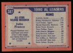 1991 Topps #387  All-Star  -  Julio Franco Back Thumbnail