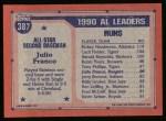 1991 Topps #387  All-Star  -  Julio Franco Back Thumbnail