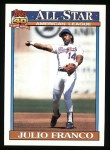 1991 Topps #387  All-Star  -  Julio Franco Front Thumbnail