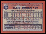 1991 Topps #70  Ellis Burks  Back Thumbnail