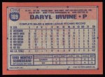 1991 Topps #189   Daryl Irvine Back Thumbnail