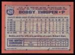 1991 Topps #420  Bobby Thigpen  Back Thumbnail