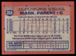 1991 Topps #358   Mark Parent Back Thumbnail