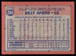 1991 Topps #284   Billy Spiers Back Thumbnail