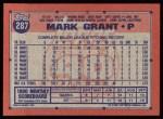 1991 Topps #287  Mark Grant  Back Thumbnail