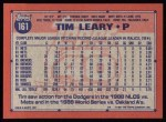 1991 Topps #161  Tim Leary  Back Thumbnail