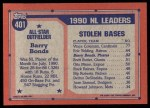 1991 Topps #401   -  Barry Bonds All-Star Back Thumbnail