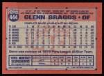 1991 Topps #444  Glenn Braggs  Back Thumbnail