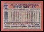 1991 Topps #290  Steve Sax  Back Thumbnail