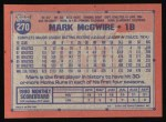 1991 Topps #270   Mark McGwire Back Thumbnail