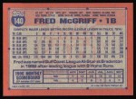 1991 Topps #140   Fred McGriff Back Thumbnail