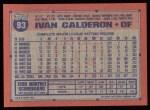 1991 Topps #93  Ivan Calderon  Back Thumbnail