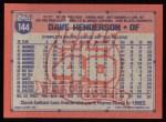 1991 Topps #144  Dave Henderson  Back Thumbnail
