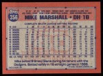 1991 Topps #356  Mike Marshall  Back Thumbnail