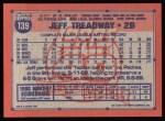 1991 Topps #139  Jeff Treadway  Back Thumbnail