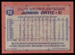 1991 Topps #72   Junior Ortiz Back Thumbnail
