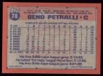 1991 Topps #78   Geno Petralli Back Thumbnail