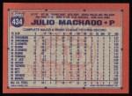 1991 Topps #434   Julio Machado Back Thumbnail