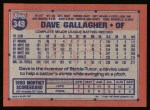 1991 Topps #349  Dave Gallagher  Back Thumbnail