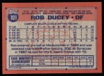 1991 Topps #101   Rob Ducey Back Thumbnail