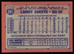 1991 Topps #281   Larry Sheets Back Thumbnail