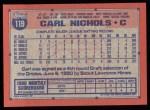 1991 Topps #119   Carl Nichols Back Thumbnail