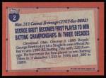 1991 Topps #2  Record Breaker  -  George Brett Back Thumbnail