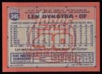 1991 Topps #345  Len Dykstra  Back Thumbnail