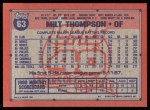 1991 Topps #63  Milt Thompson  Back Thumbnail