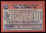 1991 Topps #474   Phil Plantier Back Thumbnail