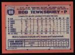 1991 Topps #88   Bob Tewksbury Back Thumbnail