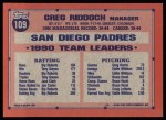 1991 Topps #109   Greg Riddoch Back Thumbnail