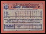 1991 Topps #114   Lance Dickson Back Thumbnail