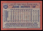 1991 Topps #341  John Moses  Back Thumbnail