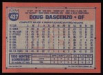 1991 Topps #437  Doug Dascenzo  Back Thumbnail