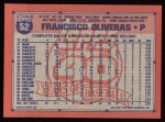 1991 Topps #52   Francisco Oliveras Back Thumbnail